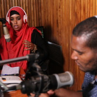 Halima Dida during a radio talkshow session on peace at local fm in Isiolo County 33